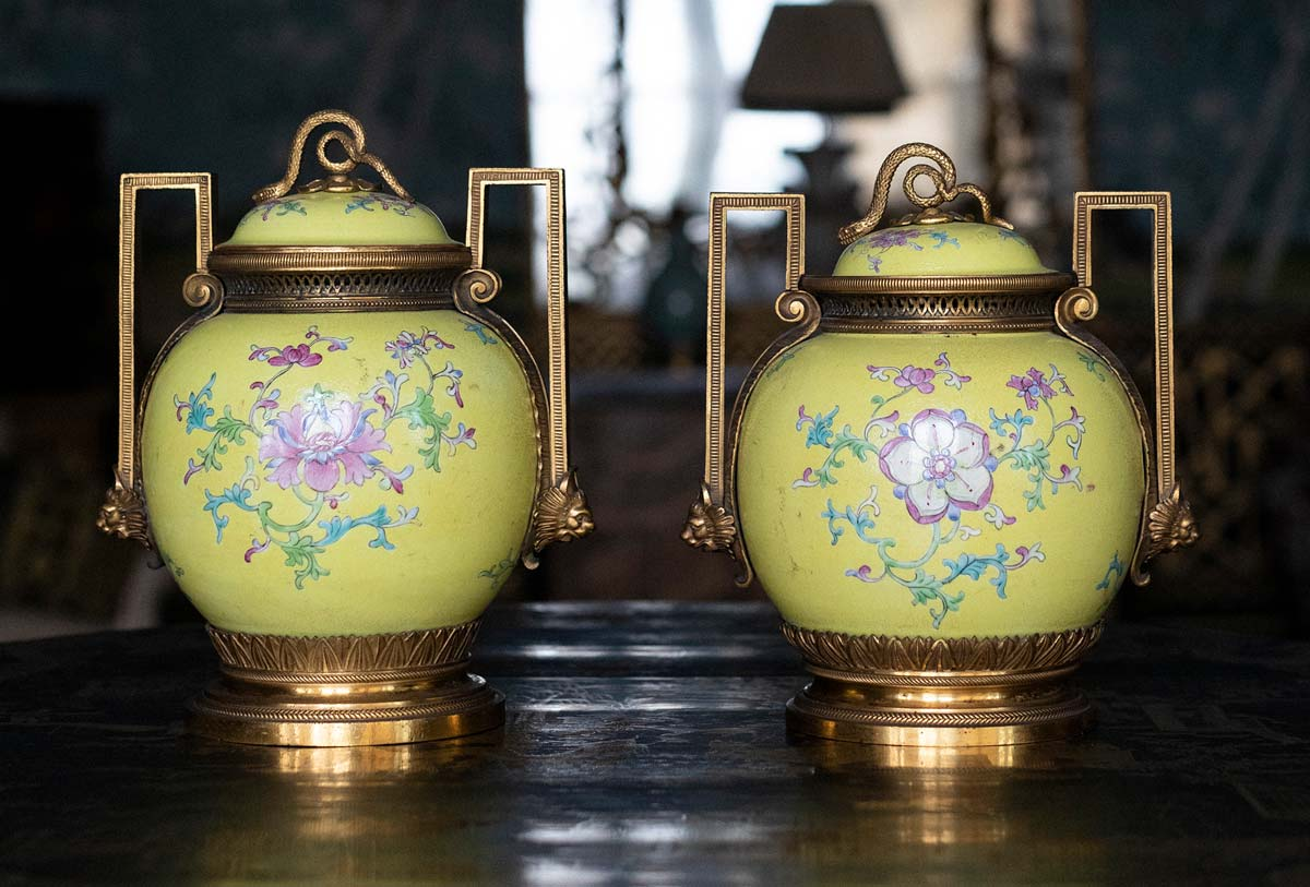 Pair of Chinese famille jaune baluster pot-pourri vases