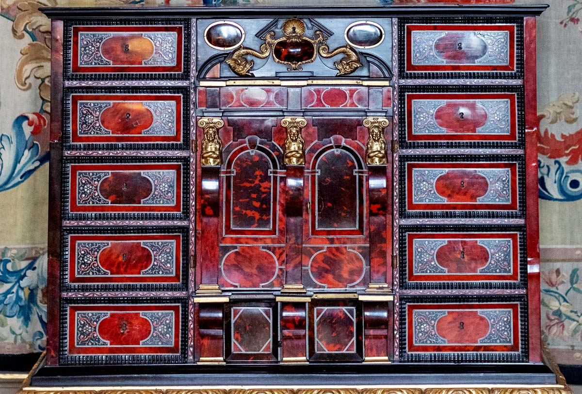 17th century Antwerp gilt-bronze-mounted ebony and tortoiseshell cabinet